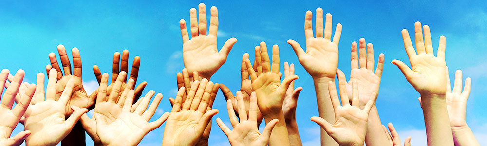 raised hands as a sign of commitment towards scleroderma